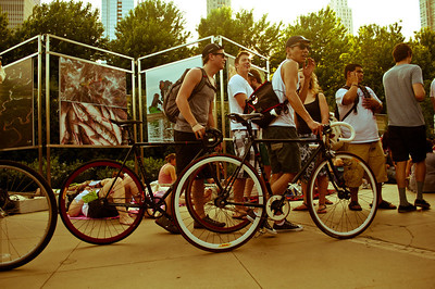 Bikers at Millenium Park at the Iron and Wine Concert