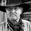 Rugged cowboy in black and white
