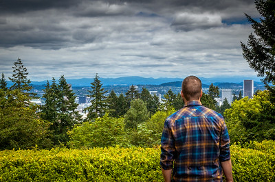 Ian looking out at Portland, Oregon