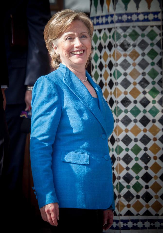 *legende*  Forum for the Future, Hillary Clinton est acceuillie par le ministre des affaires etrangeres Mr Taieb Fassi Firhi  au Centre de Conference International de la Palmeraie
