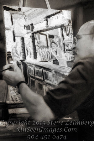 Painting of Gary Rubin Painting - B&W Copyright 2017 Steve Leimberg - UnSeenImages Com _Z2A4796