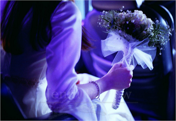 A young bride waits to exit the van while the group arrives at the courthouse.