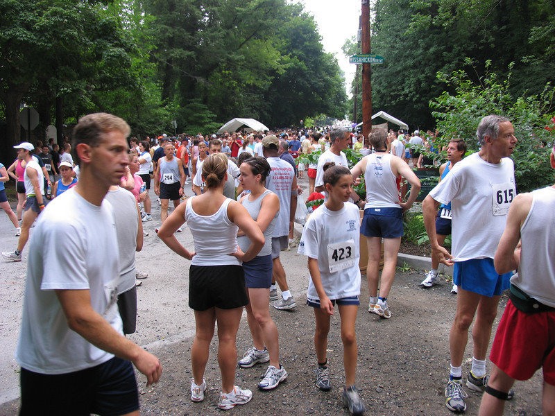 Gathering at starting line - Fairmont Park in Chestnut Hill - July 2005