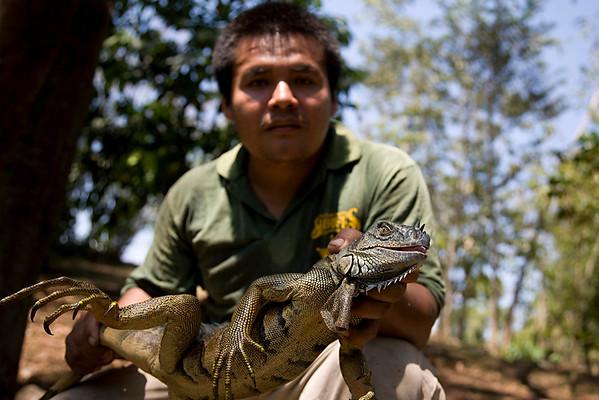 Maya man hunting iguanas in Belize.