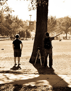 Boys taking photos in Oz Park.