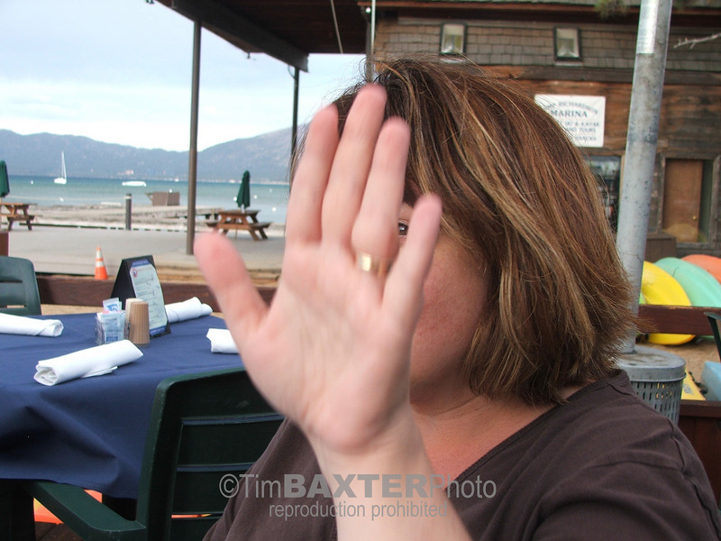 Portrait of my wife - I'm sure I'll get in trouble for this, but this kind of picture is typical for Amy.  She absolutely hates getting her picture taken, so I have tons of pictures of her hand.  This is her hand in Lake Tahoe.  I'm sure when we have grandkids they will want to look at all the pictures of her hand on trips, at weddings, parties, etc.  At least she lets me hang around, even when I POST pictures of her hand.