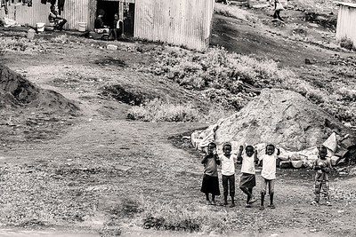 Waving Children Kenya  B&W Copyright 2020 Steve Leimberg UnSeenImages Com