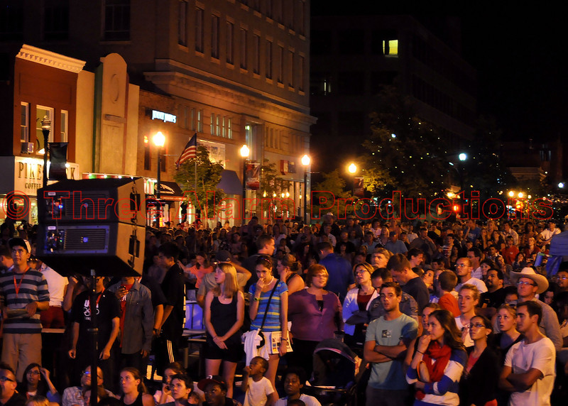 Thousands of people gathered downtown Colorado Springs on Tejon to watch the opening ceremony of the 2012 Olympics on a giant screen TV.