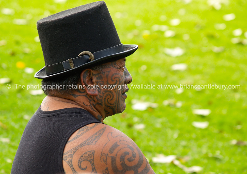 Maori man, Tama Iti, displaying traditional facial moko or tattoo.<br /> <br />  Model Release; No. Editorial or personal use only.