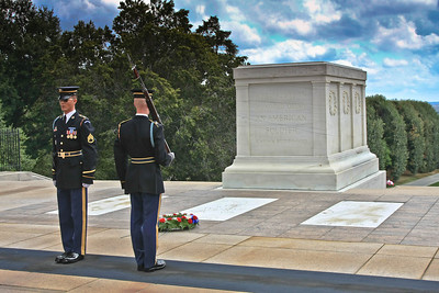 Changing of the guard at the Tomb of the Unknown Soldier.