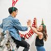 Young couple, Christmas theme.