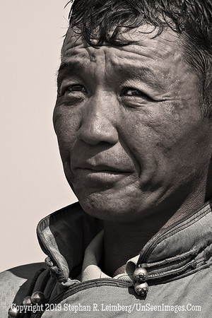 Mongolian Rider B&W Close-UpCopyright 2019 Steve Leimberg UnSeenImages Com _DSF7804