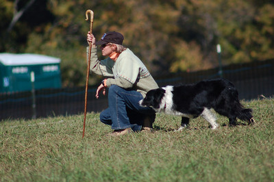 Shepherd and Dog at The Rural Hills Sheepdog Trials in Hunterville, North Carolina.