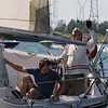 A very tense moment for 2 crews during a sailboat race