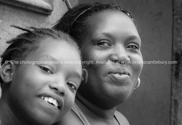 Cuban mother and adughter, in black and white.<br /> Model release; No.