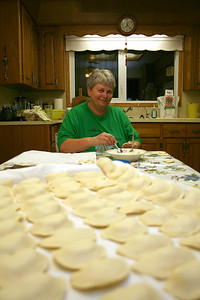 Darcie's Mom (Jackie Oranchuk) making perogies.