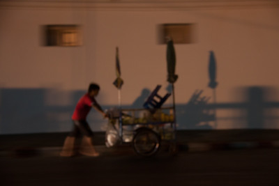 Street vendor going home, Bangkok, Thailand, 2012