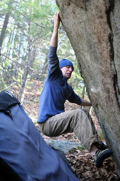 Alix bouldering at Pawtuckaway State Park, NH
