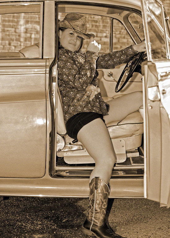 Cowgirl in Rolls-Royce