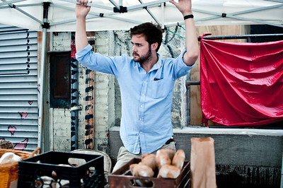 Brian Wright selling bread in Columbus, Ohio.