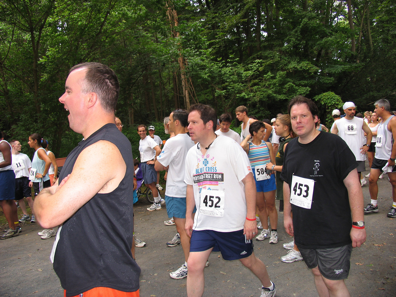 Highly trained athletes preparing themselves mentally for the grueling run - Fairmont Park in Chestnut Hill - July 2005