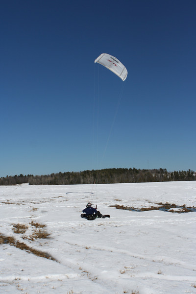 Charley doing some early season snowkiting on the Witter Farm field
