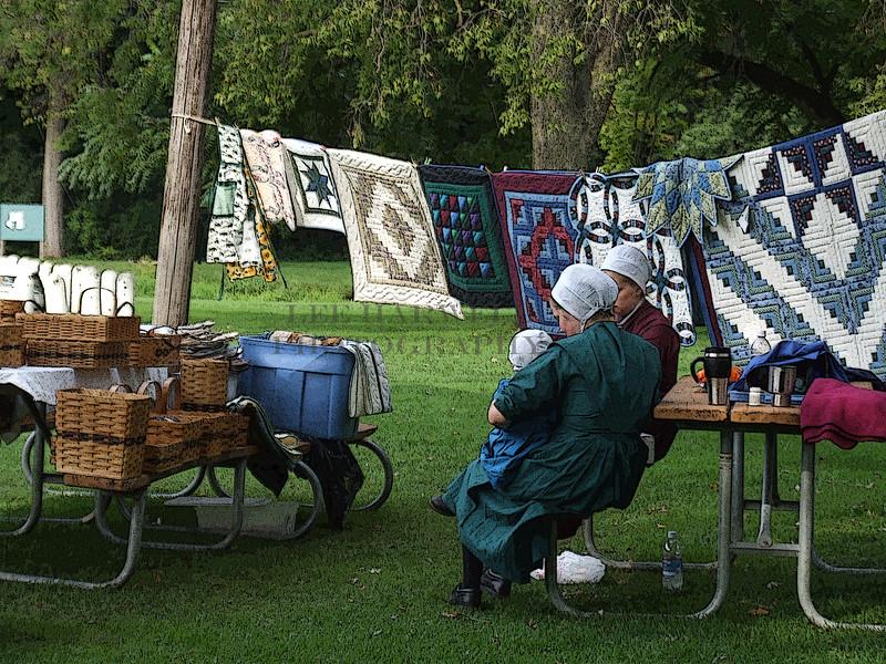 Amish quilt sale.