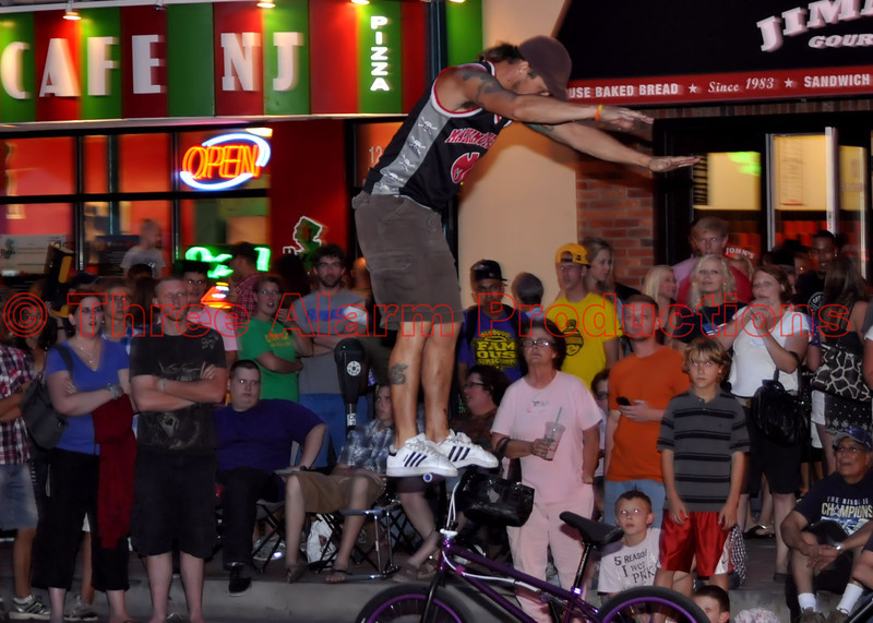 """""""Maximum Velocity"""" Bicycle Stunt Team performing at the Opening Olympic Ceremony Celebration in downtown, Colorado Springs, Colorado, USA.<br /> See their website at: <a href=""""http://mvst.com/"""">http://mvst.com/</a><br /> Join them on Facebook at: <a href=""""https://www.facebook.com/pages/Maximum-Velocity/29154944120"""">https://www.facebook.com/pages/Maximum-Velocity/29154944120</a>"""