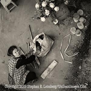 Flower Lady From Bridge - B&W Copyright 2018 Steve Leimberg UnSeenImages Com _DSF9827