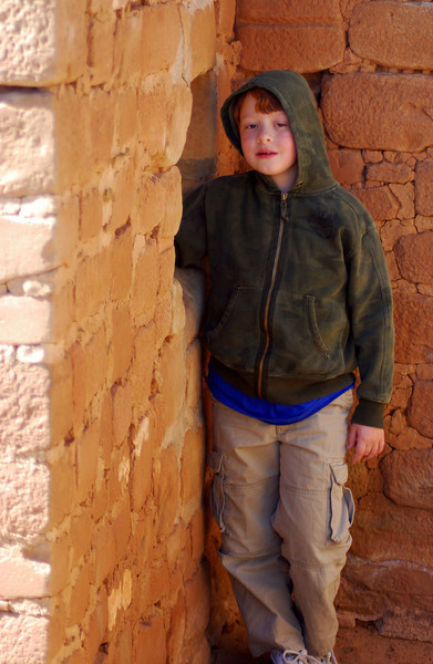Luke, 7, at the Mesa Verde cliff dwellings in SE Colorado. April 2008.