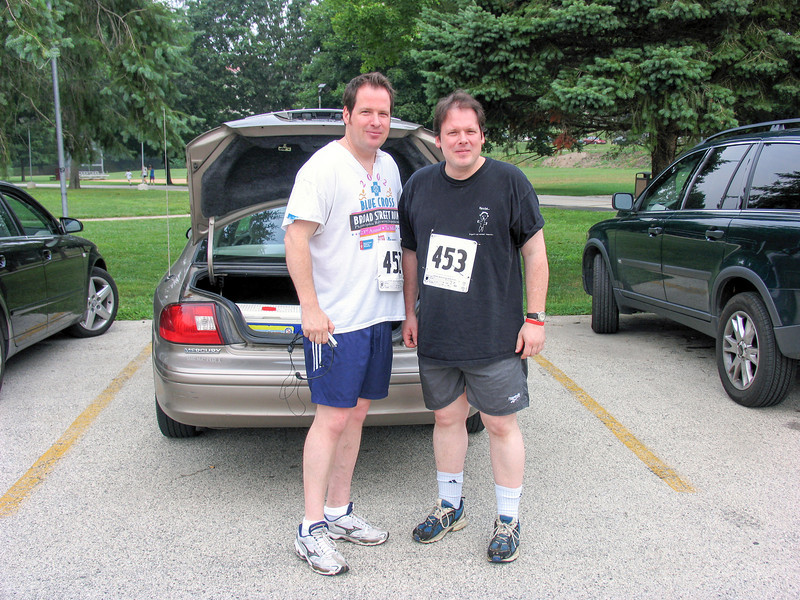 Paul and Daniel Walsh prior to start of run - Fairmont Park in Chestnut Hill - July 2005