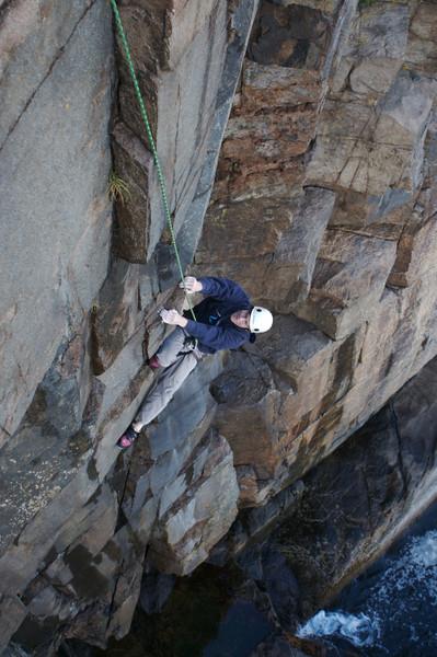 Ian on Spray Deck (5.9), Otter Cliffs, Acadia National Park, ME