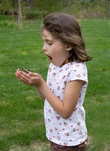 little girl and a grasshopper