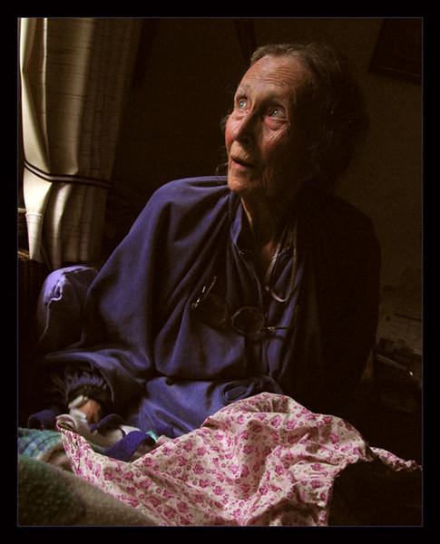 At 90 she still hand sews by window light.  2007
