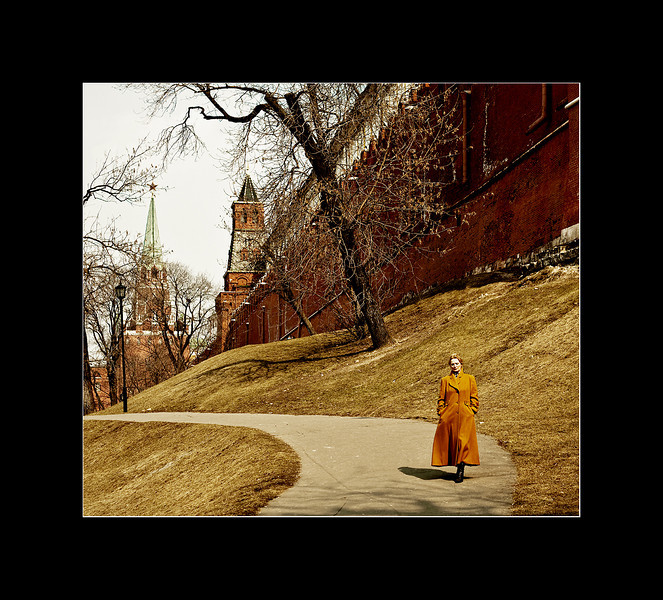 Woman Strolling along the Kremlin Esplanade, Moscow, Russia.
