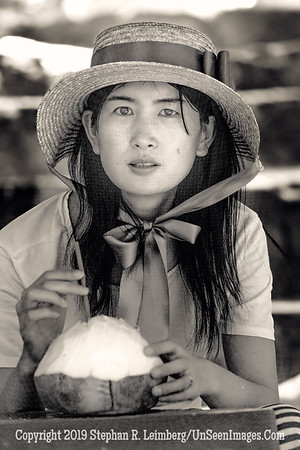 Beautiful Woman Drinking Coconut Drink - B&W Copyright 2018 Steve Leimberg UnSeenImages Com _Z2A1977