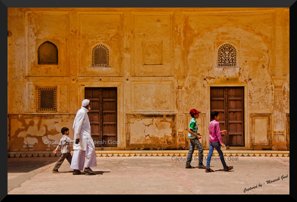 Tourists enjoying the intricate works inside Jaigarh  Fort, Jaipur (Rajasthan)