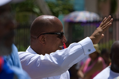 Leader of opposition, Dean Barrow, leading politidcal supporters in Independence Parade in Belize City, Belize on Independence Day, September 21st, 2007.