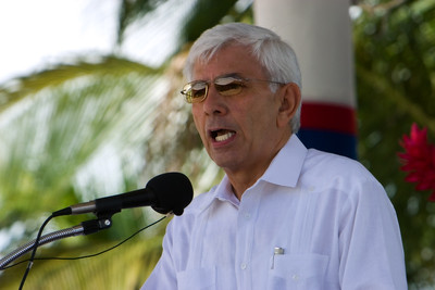 Prime Minister, Said Musa, giving speach at official ceremonies in Memorial Park on Independence Day, 21st September, 2007, Belize City, Belize