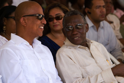 Dean Barrow, leader of United Democratic party with Chief Justice, Abdulai Conteh at official ceremonies on Independence day, September 21st, at Memorial Park in Belize City, Belize.