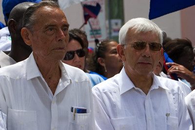 George Price and Prime Minister of Belize, Said Musa leading political supporters in Independence Day parade through principle streets of Belize City Belize on September 21st, 2007.