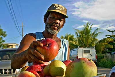 Selling mangoes in Dangriga, Stann Creek, Belize