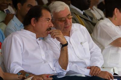 President Ortega of Nicaragua and Prime Minister Musa of Belize at official ceremonies on Independece Day, September 21st, in Belize City, Belize.