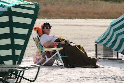 Lisa, enjoying some down time on Marco Island beach...