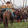 De lanciers op een rij die hun lans schuin in de grond steken met de voet erachter om zo een barrière te vormen tegen de cavallerie