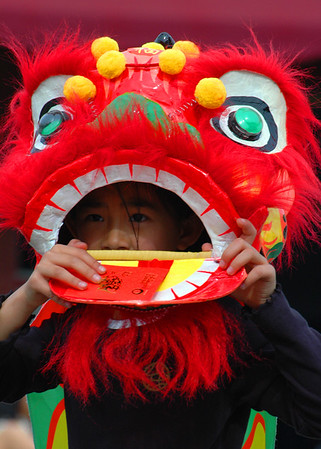 Lion dance boy, Chinese New Year 2005