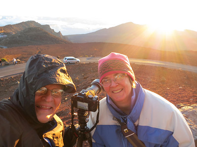 Photographing the sunrise on the summit of Haleakala in Maui.