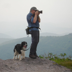 This photo of me with our dog was taken by my wife when we were hiking to Wilburn Ridge in the Mount Rogers National Recreational Area. What you don't see is the hundreds of black flies that were our constant companions. I removed them from the image.
