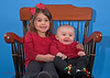 Sarina and her baby sister, Emily, in their Christmas card pose (2014).