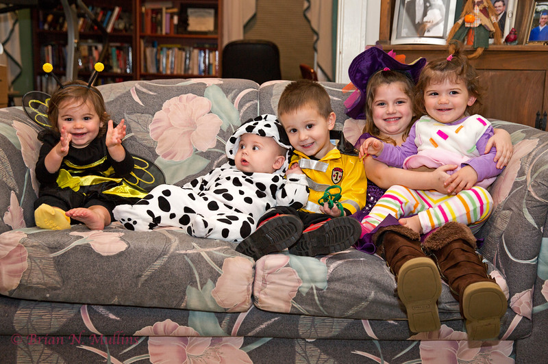 Getting Ready for Halloween: L-R, Sarina, Max, Eli, Kate, and Kara